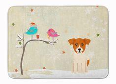 Christmas Presents between Friends Jack Russell Terrier Machine Washable Memory Foam Mat BB2580RUG