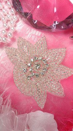 "JB110 Crystal Rhinestone Applique Silver Beaded Floral 3"" (JB110-slcr) on Etsy, $5.99"