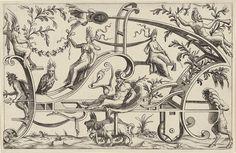 Carro de grutescos y arabescos dibujados por dos animales fantásticos y empujado por un sátiro, cuya cabeza queda atrapada en una gran concha. Un sátiro es en el coche con una lámpara encendida. [E] n la serie de impresión de ocho carros de grutescos y arabescos con los sátiros, los animales y varias otras criaturas, decorado con trofeos, guirnaldas y las vides. [1550]