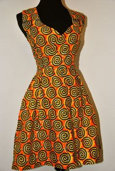 Beautiful  authentic  African print dress by IONBafricanstyles, $79.99