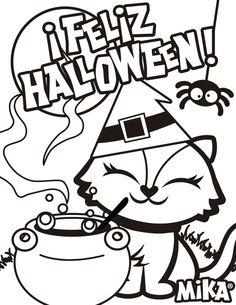 Llena de colores este bonito dibujo!! Descargalo en http://www.mika.com.mx/colorea.php #Halloween #colorea #gatito #FelizHalloween #QueremosHalloween #mikandfriends #facemika