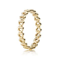 Linked Love Stackable Ring, 14K Yellow Gold - Pandora US | PANDOR
