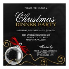 Invite your guests in style with these Christmas party invitations. Featuring a silver ornament, red bow and gold tassels on a black background. Formal and elegant. Perfect for a corporate holiday party, business holiday party, company holiday party and more! Easily personalize for your special event. Designs are flat printed illustrations/graphics - NOT ACTUAL EMBELLISHMENTS.