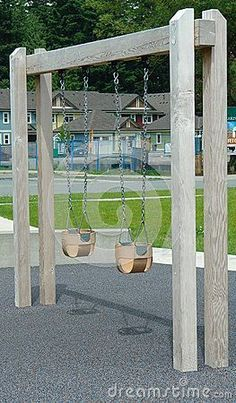 swing set plans Swings built for a small child at a residential play park. I like this idea for less invasive foot print in back yard but more permanent and not moveable Backyard Swings, Backyard Playground, Backyard For Kids, Backyard Landscaping, Backyard Ideas, Children Playground, Playground Swing Set, Patio Decks, Sloped Backyard