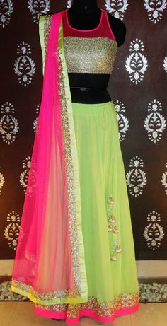Buy pista colour net embroidery dress online in india at cooliyo Bollywood Stars, Bollywood Fashion, Indian Bollywood, Pink Lehenga, Lehenga Choli, Kasavu Saree, Anarkali Dress, Anarkali Suits, Bridal Lehenga