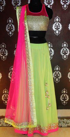 Indian# Bollywood fashion # Ghagra Choli # Green #pink # Vitamin by Sonalika # Sonalika Pradhan #Mofav #MoSupaFav