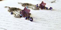Mulberry Lucite Flower Chandelier Earrings, Lucite Flower Earrings, Vintage Style Earrings