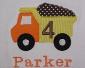Construction Dump Truck Birthday Shirt or Anytime Shirt Personalized FREE MONOGRAMMING Short Sleeve