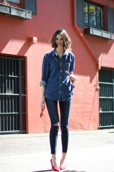 BYCHILL   Chloe Hill in Acne Denim Shirt and Paige Jeans