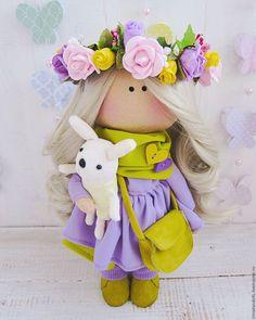 Куклы тыквоголовки ручной работы. Куколка в веночке. Ирина Данилова. Интернет-магазин Ярмарка Мастеров. Горчичный, ручная работа, большеножка