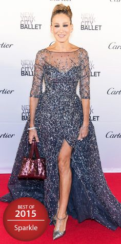 Sarah Jessica Parker delivered a major Carrie Bradshaw moment at the New York City Ballet Gala, stealing the spotlight in a stunning cloud of tulle, courtesy of Zuhair Murad Couture, exquisitely embroidered with confetti-like sparkles all over. A crimson sequined purse and T-strap SJP pumps completed her look.