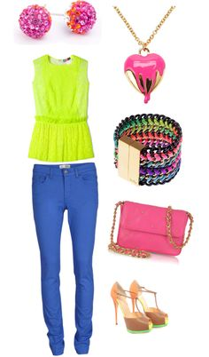 """""""neon"""" by teresa-santiago ❤ liked on Polyvore"""