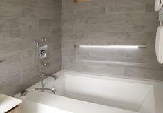 bath wall tile grey Brooklyn Brownstone, Wall Tiles, Staging, Bathtub, Interior Design, Bathroom Ideas, Living Rooms, Bathrooms, Design Ideas