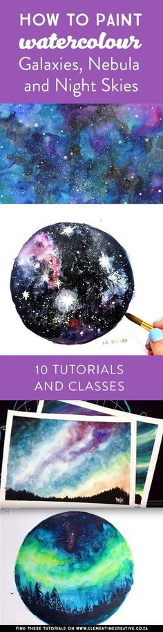 Ever wanted to learn how to paint a galaxy, night sky or nebula with watercolour paint? Check out these 7 free tutorials and 3 classes which show you how to do it step-by-step. diy ideas How to Paint a Watercolor Galaxy, Nebula and Night Sky: 10 Tutorials Watercolor Galaxy, Galaxy Painting, Galaxy Art, Watercolour Painting, Painting Canvas, Watercolors, Diy Painting, Watercolour Tutorials, Watercolor Techniques