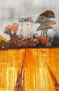 CASTLE IN A CORNFIELD. Watercolour Landscape of Balvaird Castle in Scotland. The yellow field of corn and grey skies, that absorb the defensive tower of the castle, set the contrast between corn and castle. Glen Craig.