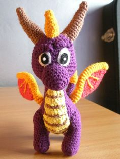 Amigurumi Spyro The Dragon I made using a pattern found on Etsy:   http://www.etsy.com/uk/listing/122995781/purple-and-pink-dragons-amigurumi