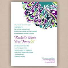 Peacock Feather Inspired Wedding Invitation Bridal Shower, Baby Shower Wedding Invitation- Printable 5x7 with RSVP. $19.98, via Etsy.