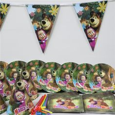 61pcs/lot cartoon masha bear 20 people use paper plate cup napkin banner kids birthday party decoration festival supplies favor