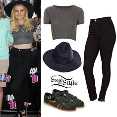 Perrie Edwards met fans at the AMP Birthday Bash yesterday with her bandmates wearing a Topshop Skinny Rib Crop Tee ($16.00), a pair of American Apparel Easy Jeans ($78.00) in Black, her Ecote Moni Buckled Huarache Sandals ($29.99) and a hat similar to this one from Free People ($38.00).