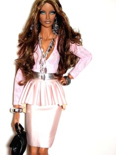 Fashion Royalty 16 inch Freja Mossimo repaint reroot by Claudia Outfit made by Meg Fashion Doll