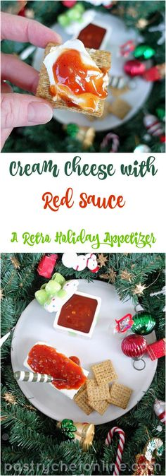 "This is not Italian ""red sauce"" gravy. Rather, this red sauce recipe is for a tangy, sweet and sour ketchup and honey-based sauce to pour over a block of cream cheese. It is one of my favorite holiday appetizers, and the recipe makes a lot, so it's great Jello Recipes, Sauce Recipes, Cheese Recipes, Delicious Recipes, Cooking Recipes, Holiday Party Appetizers, Holiday Parties, Holiday 2014, 1950s Food"