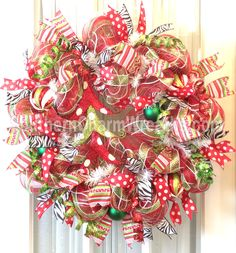 Funky Christmas Wreath with tree by www.southerncharmwreaths.com