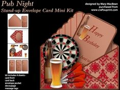 Pub Night   Stand up Envelope Card Mini Kit on Craftsuprint - View Now!