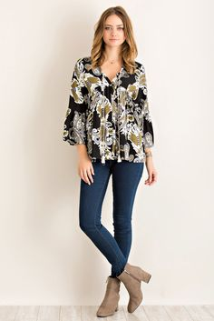 Floral Print Loose Fit Button Down Top