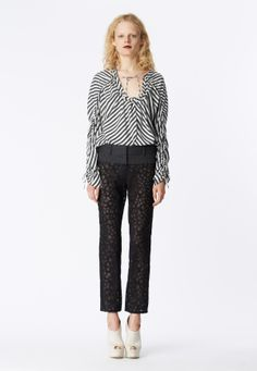 LOOK 5 Charcoal and white silk stripe drawstring long sleeve top.  Black honeycomb lace trouser with charcoal pinstripe wool yoke.