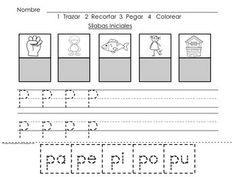 SPANISH  FOR KINDERGARTEN - Silabas Iniciales - Consonantes - Sorting Spanish Initial Consonant Syllables - Students cut and paste syllables and match them to the correct pictures. Tracing practice is included as well.  pato, pez, pierna, pozo, puno