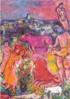 Marc Chagall, Autour du Coq Rouge (Around the Red Rooster), 1982  on ArtStack #marc-chagall #art