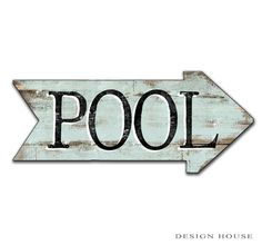 Pool arrow wooden handmade sign. In red or light blue. Approx. 18.5x8x3/4. Art is applied to wood then sealed with polyurathane. Metal hanger in