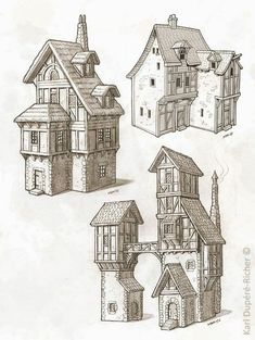 Dessin- - Everything About Minecraft Building Drawing, Building Sketch, Building Concept, Medieval Houses, Medieval Town, Medieval Fantasy, Minecraft Medieval House, Minecraft Designs, Minecraft Projects