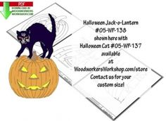 05-WP-138 - Halloween Jack-o-Lanter Downloadable Scrollsaw Woodworking Plan PDF. Print-Trace-Cut. 2 sizes included. Use this classic combination together or separately, the black cat is sold separately! Here we have our simple-to-make Halloween Jack-o- Lantern Silhouette, a purrfect way to greet your trick-or-treaters. Make use of your scrap wood pieces with this yard art project. Resize it to what you want, print it to your computer, trace and paint. Beginner skill level.