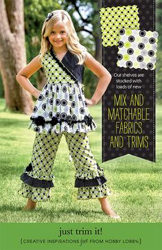 This fun and frilly outfit for girls is made from McCall's pattern 6497 with added rosettes.