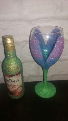 Flower glitter glass