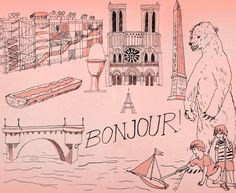 by Ted McGrath for NYTimes. I can't help it. Two-color drawing of paris with a giant bear hovering over a couple oblivious kids? With a jolly BONJOUR! written across the middle? This might be the best version of Paris I've ever seen.
