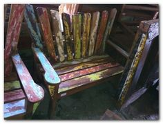 wonderful patio furniture; recycled boat wood.