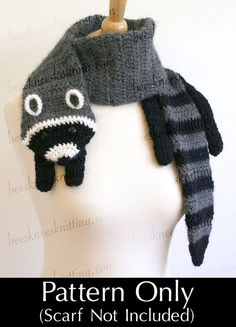 Digital PDF Crochet Pattern for Raccoon Scarf DIY Fashion