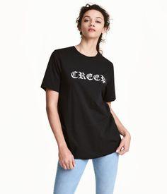 T-shirt med tryk | Sort | Dame | H&M DK