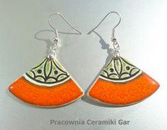 ceramic earrings , orange & green , #ceramicjewerelly,  #handmadejewerly, #craft, #ceramikagar