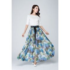 Maxi Chiffon Skirt Women's Flower Dress Long Dress Summer Prom Dress... (2,615 INR) ❤ liked on Polyvore featuring dresses, silver, skirts, women's clothing, summer beach dresses, long dresses, long chiffon dress, party dresses and chiffon maxi skirt