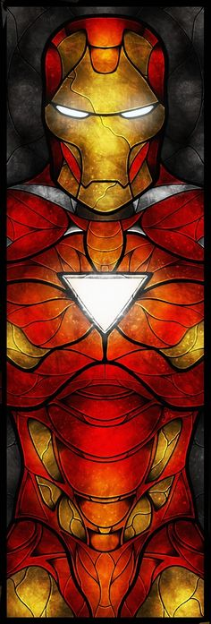 The Iron Man by Mandie Manzano This would be a perfect stain glass look for my electric panel door cover.
