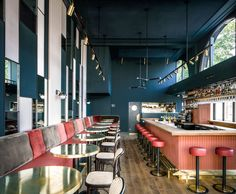 Designed by Framework Studio, Waldeck bar in Amsterdam features many of the classic hospitality materials and colours applied in an unexpected way.