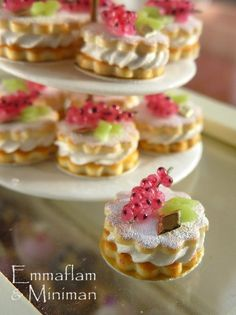 French Sables Chantilly Groseilles - Red Currant and Cream Shortbreads - 12th Scale Miniature Food. $18.00, via Etsy.
