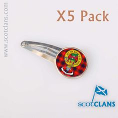 Another brand new hair accessory for your clan. A pack of 5 metal hair clips with your clan crest and tartan on a metal decoration attached to the clip. supplied as a pack of 5 they will be all in the same crest and tartan - mixed sets are possible but additional setup charges will apply. all made to order and exclusive to ScotClans.  List of Available Clans:  A Abercrombie, Abernathy, Adair, Adam, Agnew, Aikenhead, Ainslie, Aiton, Allardice, Anderson, Anstruther, Arbuthnot, Armstrong…