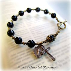 Mans Rosary Bracelet  Large size  Black Onyx by GracefulRosaries, $23.00  More at http://goo.gl/twSjXM
