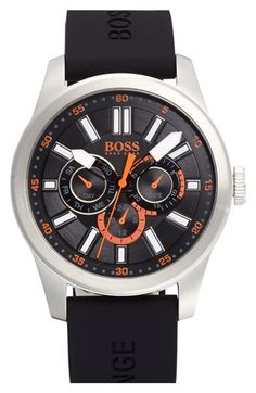 BOSS Orange 'Big Up' Multifunction Silicone Strap Watch, 44mm. Not bad. Good price, too. $150 at Nordstrom.