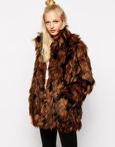 $138, Brown Fur Coat: Monki Faux Fur Coat. Sold by Asos. Click for more info: https://lookastic.com/women/shop_items/141840/redirect