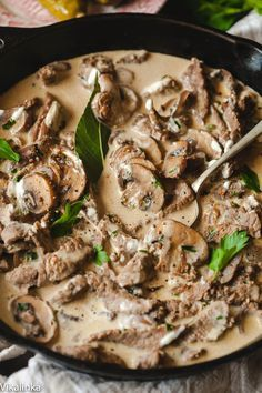 Best Beef Stroganoff- just a few ingredients and 20 min of your time! Recipe written by a Russian. I would still serve it with the egg noodles cause that just sounds good to me...also would melt some mozzarella cubes on top of everything.